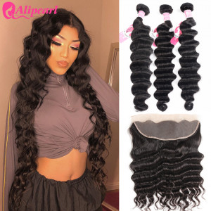 Alipearl Brazilian Hair 3pcs/lot Loose Deep Wave  with 13*4 Lace Frontal