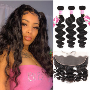 Alipearl Brazilian Hair 3 pcs/packet Loose Wave with 13x4 Lace Frontal