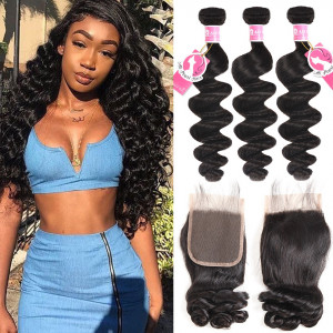 Ali Pearl 3pcs/packet Loose Wave With 4*4 Lace Closure Peruvian Human Hair
