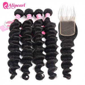 Alipearl Peruvian Human Hair 4pcs Loose Deep Wave with Lace Closure
