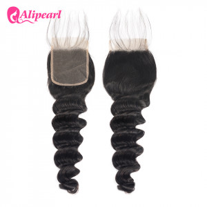 Alipearl Brazilian Human Hair Loose Deep Wave 4X4 Lace Closure 1Pc