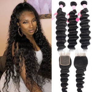 Alipearl Peruvian Loose Deep Wave Hair 3pcs with 4*4 Lace Closure