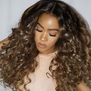 #1B/4/33 Black to Brown Natural Curly Wigs for Women Human Hair
