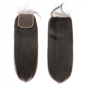 Alipearl Brazilian Straight Human Hair 4X4 Lace Closure 1Pc