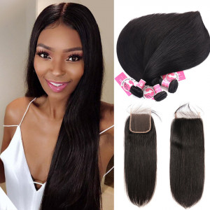 Unprocessed Peruvian Hair 3pcs Straight With 4*4 Lace Closure