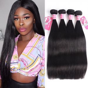 Alipearl Brazilian Virgin Hair Straight 4 bundles natural color