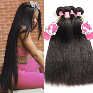 Straight 4 Bundles 1b Color Ali Pearl Peruvian Human Hair