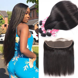 Alipearl Unprocessed Brazilian Hair 4pcs Straight with 13*4 Frontal