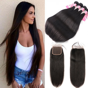 Ali Pearl Malaysian Virgin Hair 4pcs Straight with 4*4 Lace Closure
