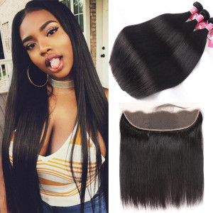 Alipearl Brazilian Straight Virgin Hair 3 pcs with 13x4 Lace Frontal