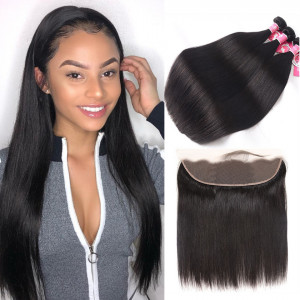 Alipearl 3pcs/packet Straight With 13*4 Lace Frontal Unprocessed Peruvian Hair