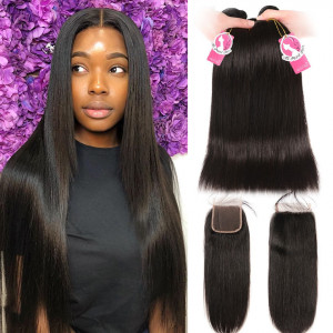 8A Unprocessed Brazilian Hair 3 pcs Straight With 4*4 Lace Closure