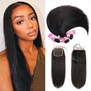Alipearl Malaysian Virgin Hair 3pcs Straight with 4*4 Lace Closure