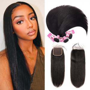 Alipearl Malaysian Virgin Hair 3pcs Straight with 4*4 Lace Closure