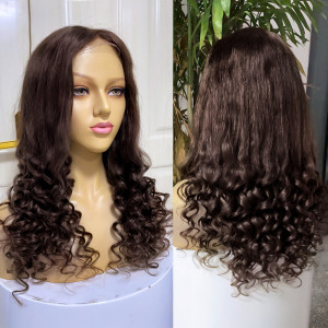 Straight to Curly Human Hair Wigs for Women Brown 5x5 Lace Closure Wig and 13x4 Wigs