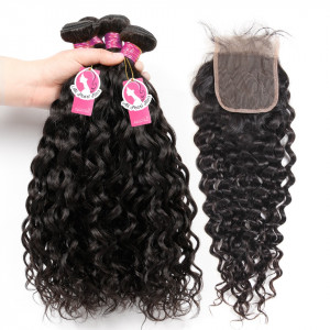 8A Grade Ali Pearl Virgin Hair Water Wave 4 Bundles with Lace Closure 4X4 Inch