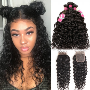 Alipearl 3 Bundles Natural Wave with Lace Closure Peruvian Virgin Hair