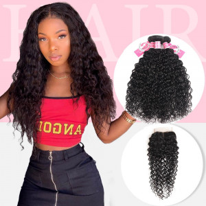 Alipearl Malaysian Virgin Hair 3pcs Natural Wave with Lace Closure
