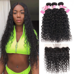 Alipearl Brazilian Hair Natural Wave 3 Bundles with Lace Frontal
