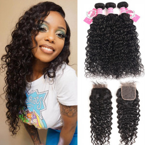 Alipearl Brazilian Hair 3 Bundles Natural Wave With 4*4 Lace Closure