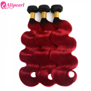 Body Wave Virgin Hair Ombre Color 1B/Red 3 Bundles Brazilian Virgin Hair