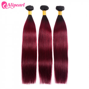 Alipearl Hair 100% Human Hair Extensions Straight Ombre Hair Color 1B/Burg 3 Bundles