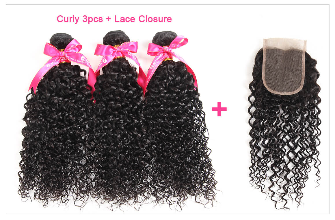 3 Hair Bundles With Lace Closures