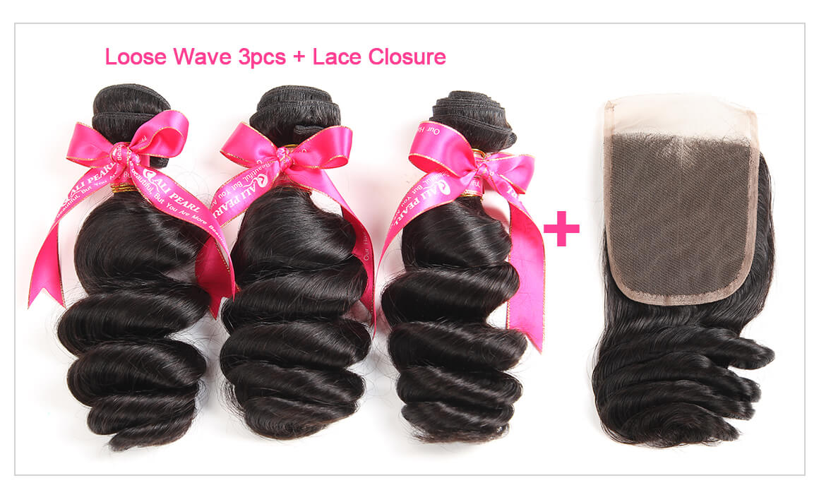 Loose Wave Hair 3 Bundles With Lace Closure