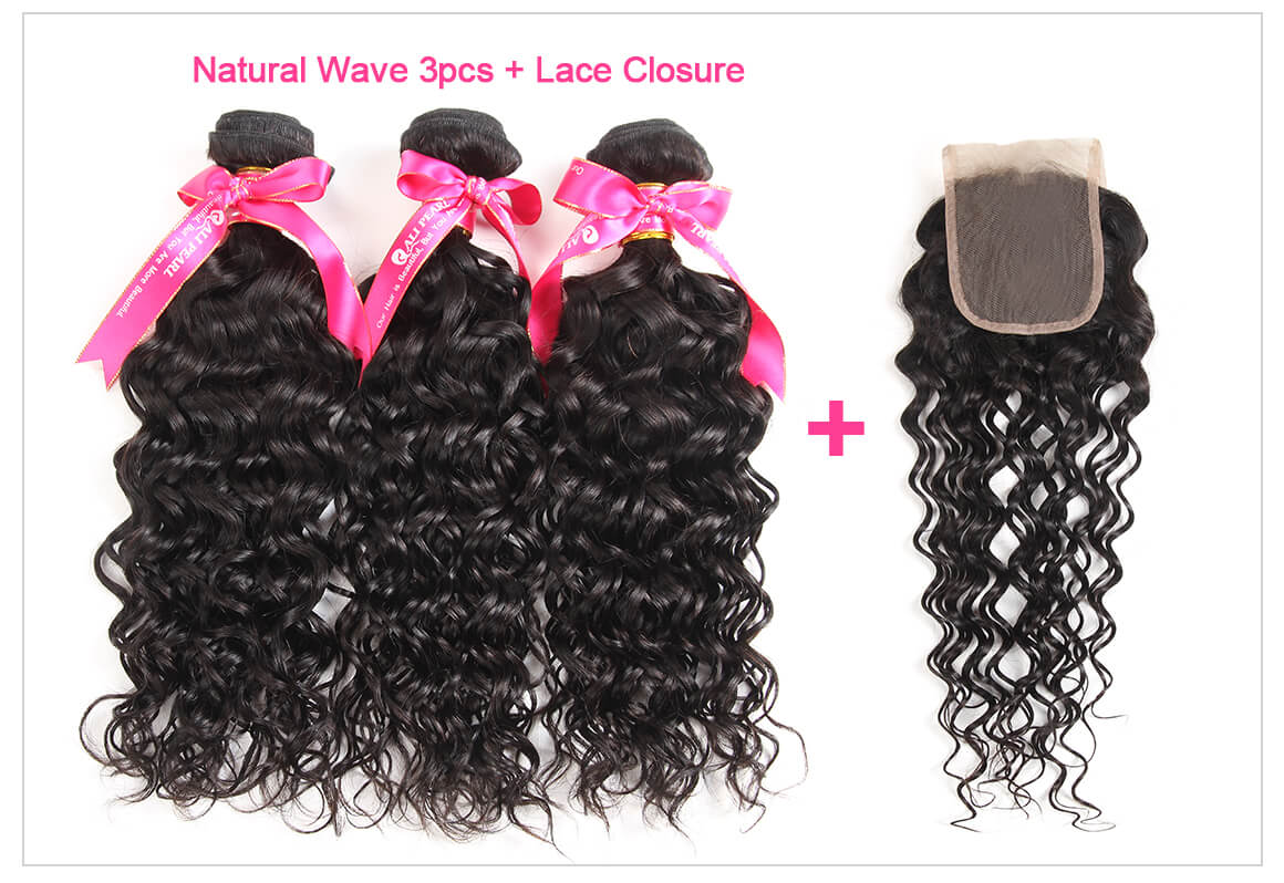 3 Bundles Natural Wave With Lace Closure