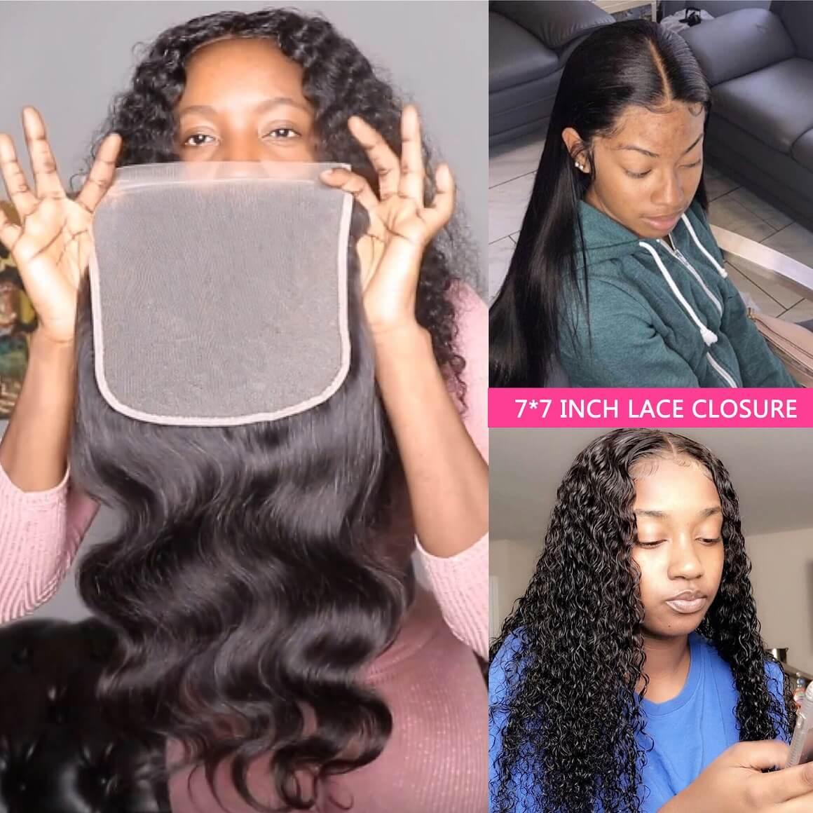 7x7 Lace Closure With 3 Bundle Deals Brazilian Human Hair -Alipearl Hair