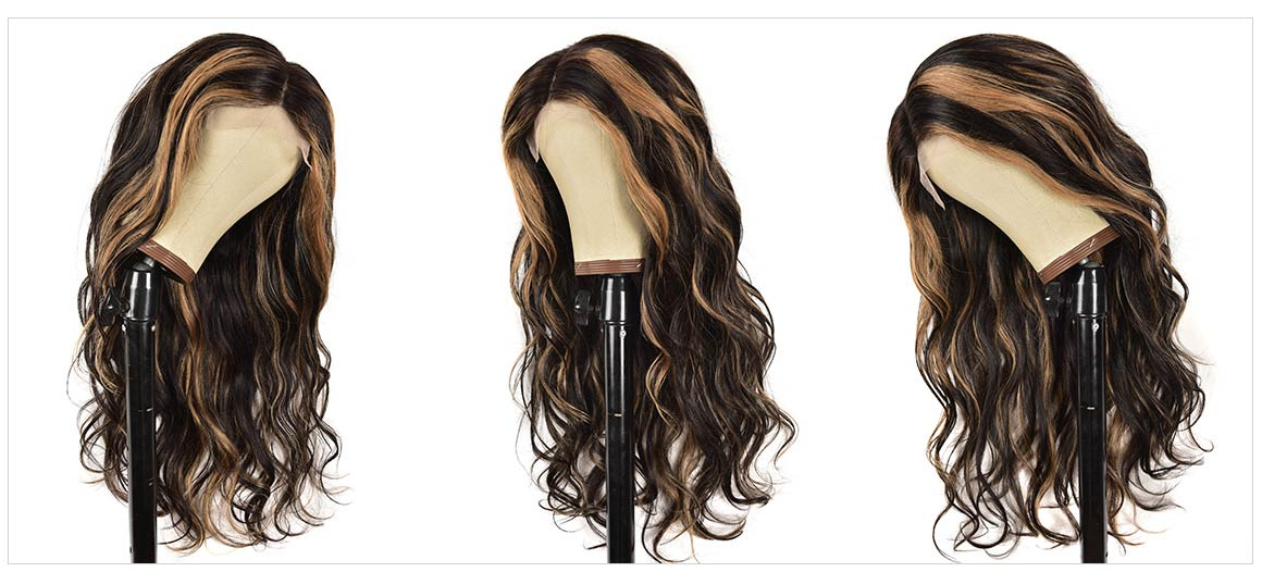 black with blonde highlights wig