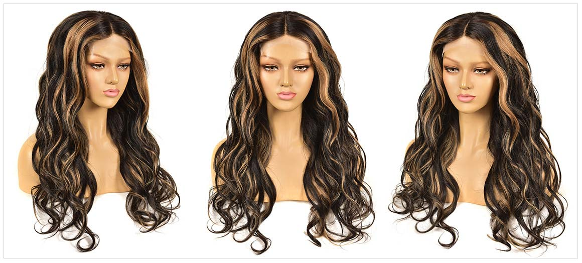 black wig with blonde highlights
