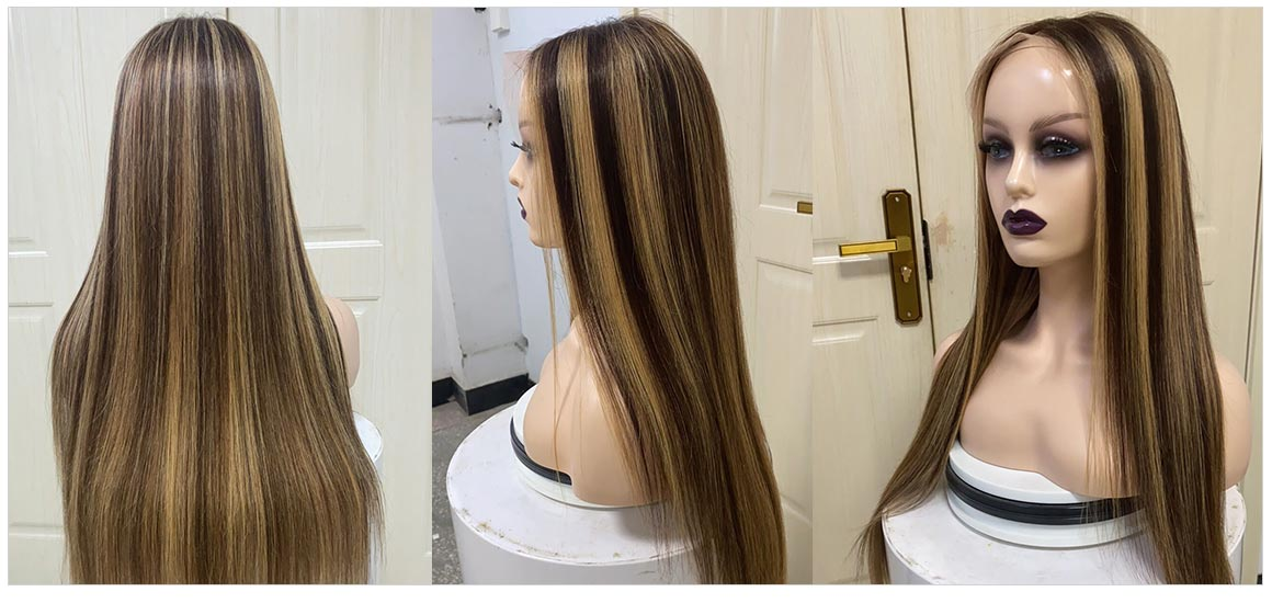 brown wig with blonde highlights human hair wig