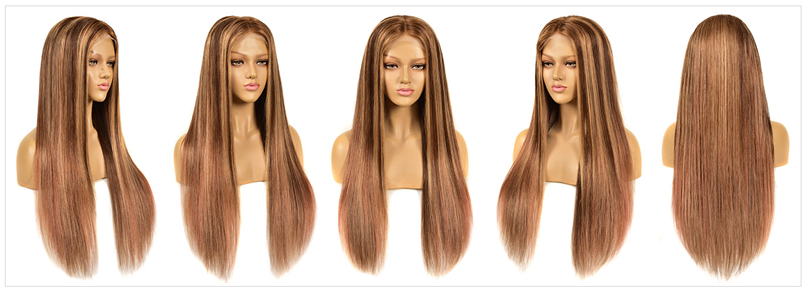 honey blonde wigs streaks in front wig