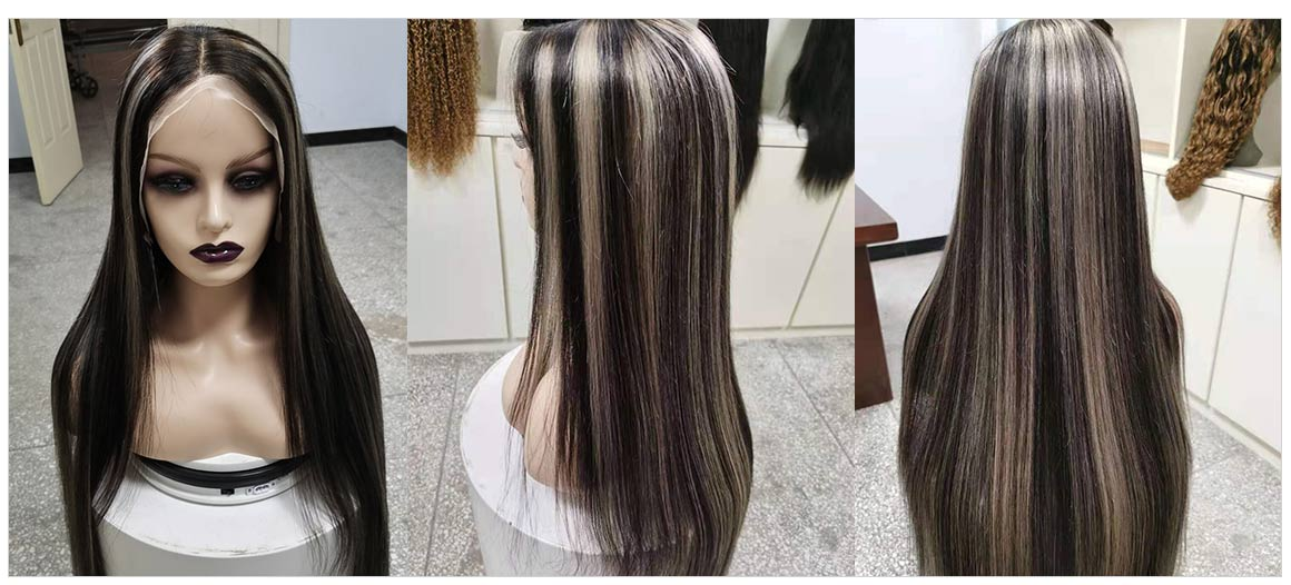 straight hair ombre wigs with grey highlights